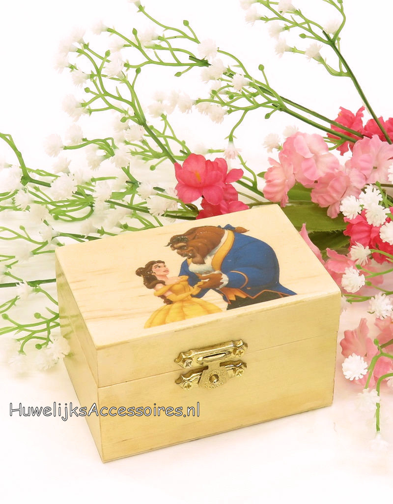 Disney Beauty and the Beast houten trouwringen doosje