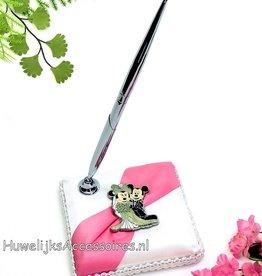 Disney Mickey en Minnie trouwen pen en houder set