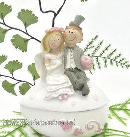 Komische bruidspaar bonbonnière