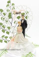 Prachtige mooie bruidspaar taart topper met wedding klokjes