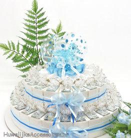 Bedankjes taart versierd met spenen op spiegeltjes