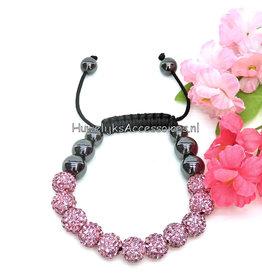 Shamballa armband met roze strass stenen
