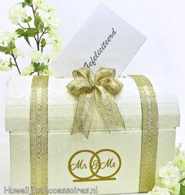 Mr & Mr enveloppendoos versierd met goud