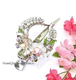 Duckklem met roze bloem en strass stenen