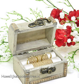'Oud look' piratenkist trouwringen doosje
