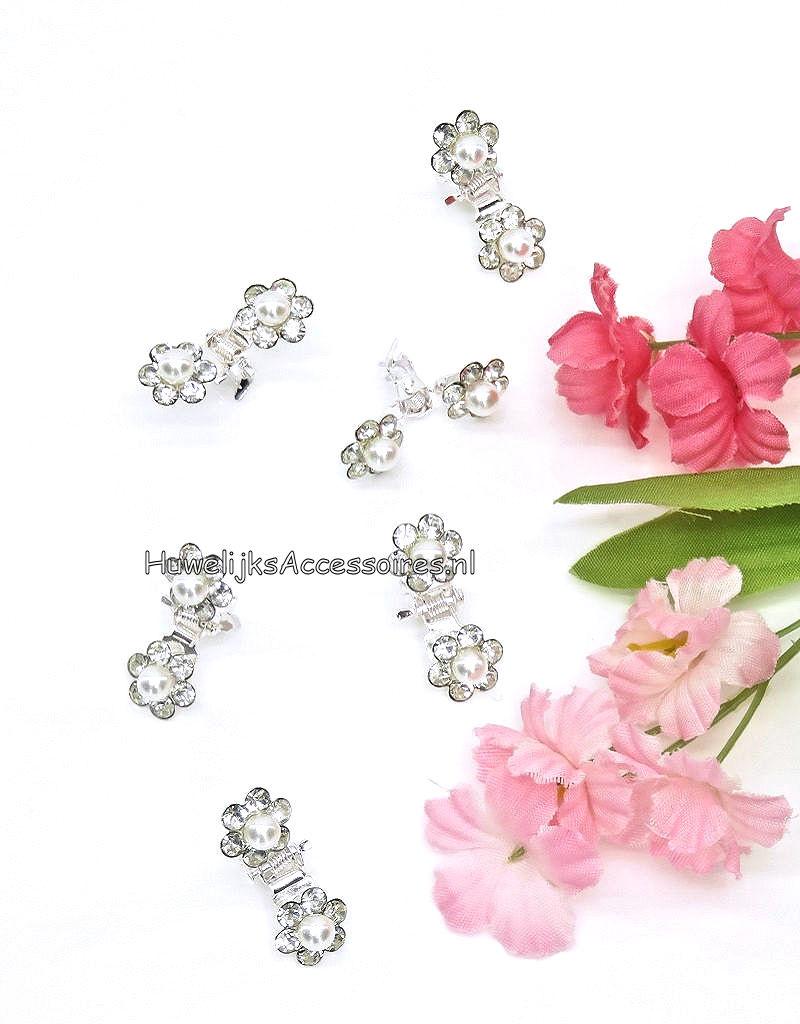 6 Zilver haarklemmetjes met parels en strass steentjes