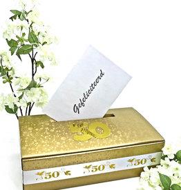 Gouden bruiloft goud enveloppendoos