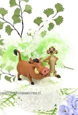 Disney Disney Timon en Pumba trouwtaart topper versierd met bloemen