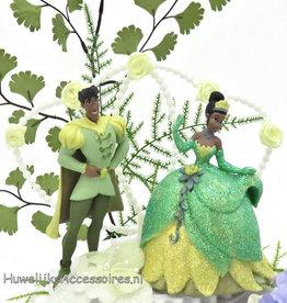 Disney Princess Tiana met Prince bruidstaart topper