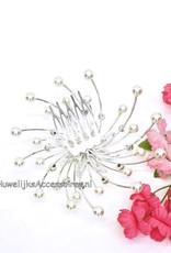 Schitterende bruids haarkam met strass stenen en parels