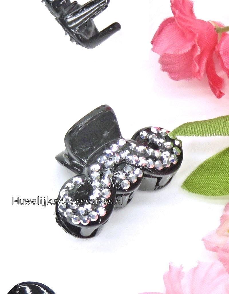 Zwarte haarklemmetjes met strass steentjes
