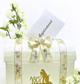 Mr & Mrs goud bruidspaar enveloppendoos