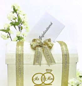 Mr & Mrs enveloppendoos versierd met goud