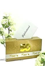 Gouden bruiloft enveloppendoos met jubileum lint