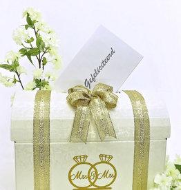 Mrs & Mrs enveloppendoos versierd met goud