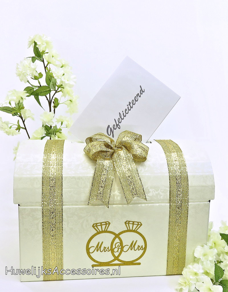 Mrs & Mrs receptie enveloppendoos versierd met goud