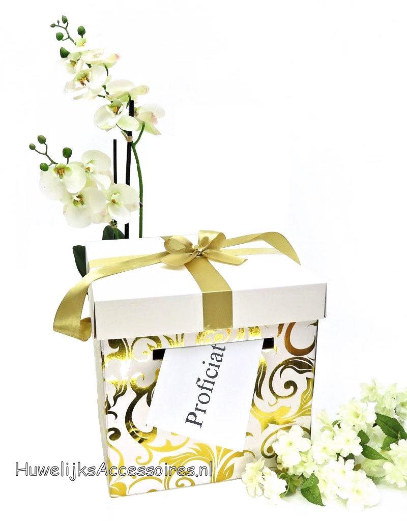 Goud en wit vierkantige bruiloft enveloppendoos