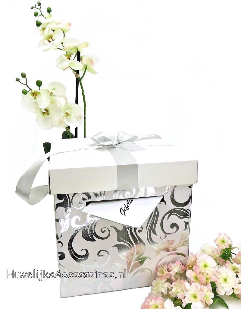 Zilver en wit vierkantige bruiloft enveloppendoos