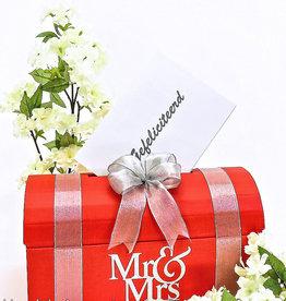 Mr & Mrs rood enveloppendoos, zilver versierd