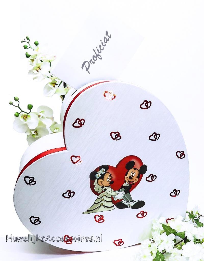 Disney Disney Mickey & Minnie Mouse bruiloft enveloppendoos met rood hart