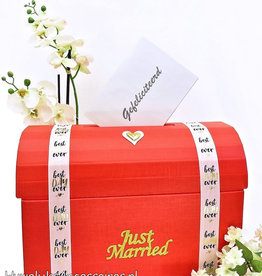 Rood bruiloft enveloppendoos - 'Just Married'