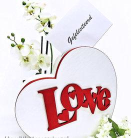 Prachtige 'Love' hartvormige enveloppendoos
