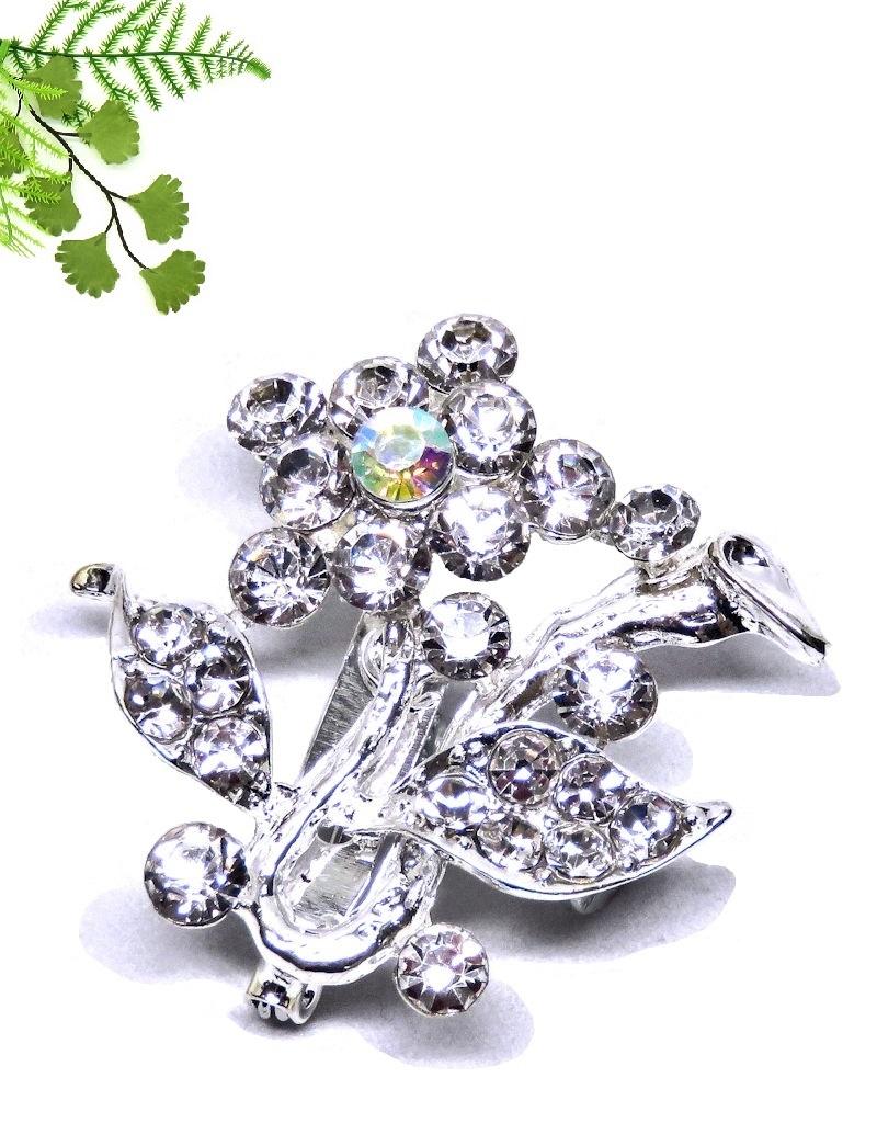 Heel mooie strass stenen bloem met tak broche