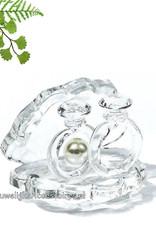 Kristallen oesterschelpje met 2 ringen en een parel taarttopper