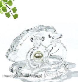 Kristallen oesterschelpje met 2 ringen taarttopper