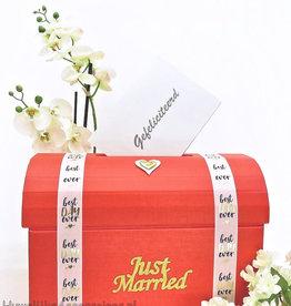 Rood receptie enveloppendoos - 'Just Married'