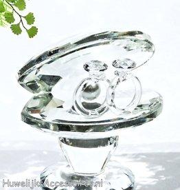 Kristallen oesterschelp met 2 ringen taarttopper