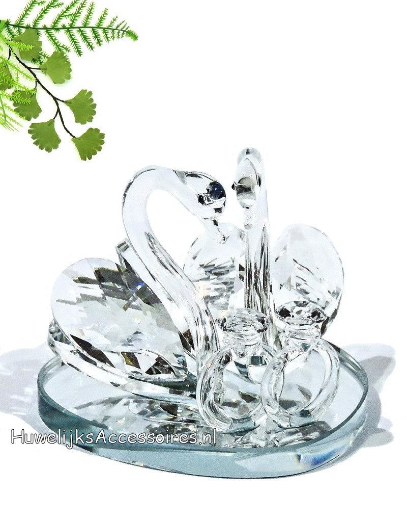 Kristallen zwanenpaar bruidstaart topper met 2 ringen