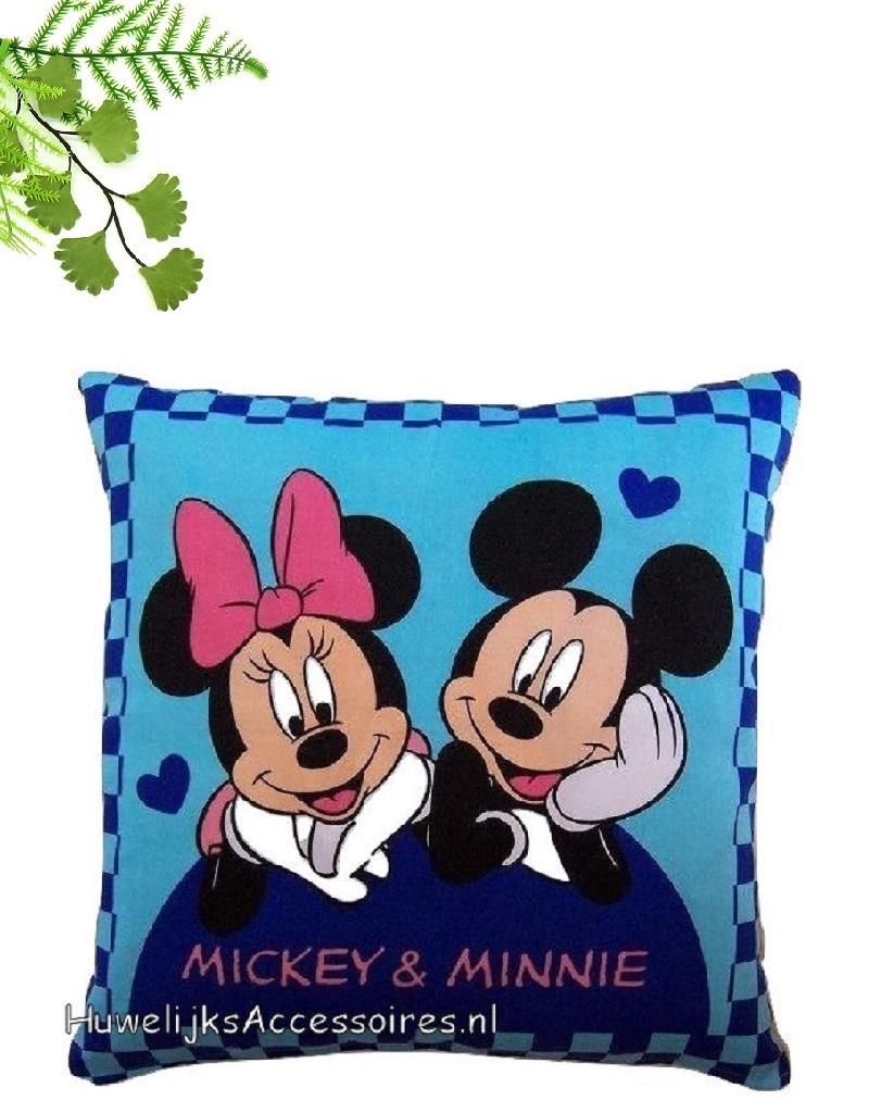 Disney Prachtige Disney blauwe sierkussen van Mickey en Minnie