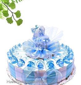 Geboorte bedankje met blauwe spenen