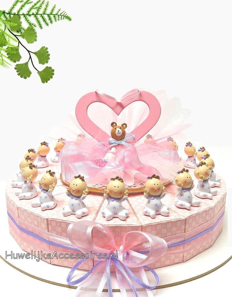 Bedankjes met baby's die in witte en lila pyjama's aanhebben