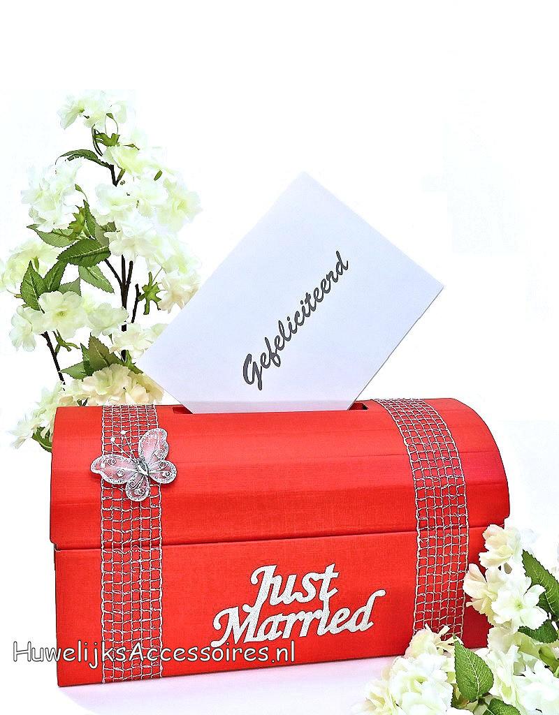Hele mooie rood en zilver bruiloft enveloppendoos