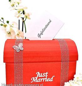 Rood 'Just Married' enveloppendoos