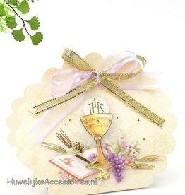 Communie bedankje doosje met gouden kelk