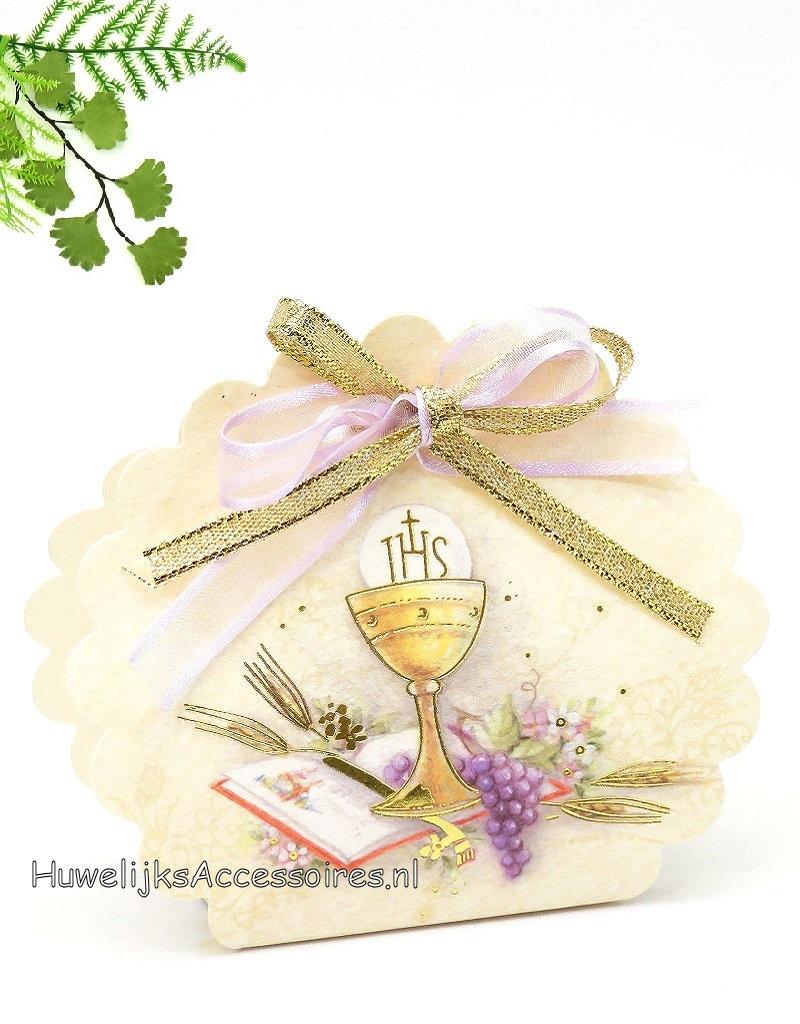 Communie bedankje versierd met lila en gouden lint