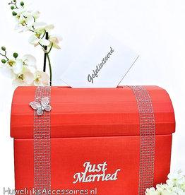 Rood en zilver 'Just Married' enveloppendoos