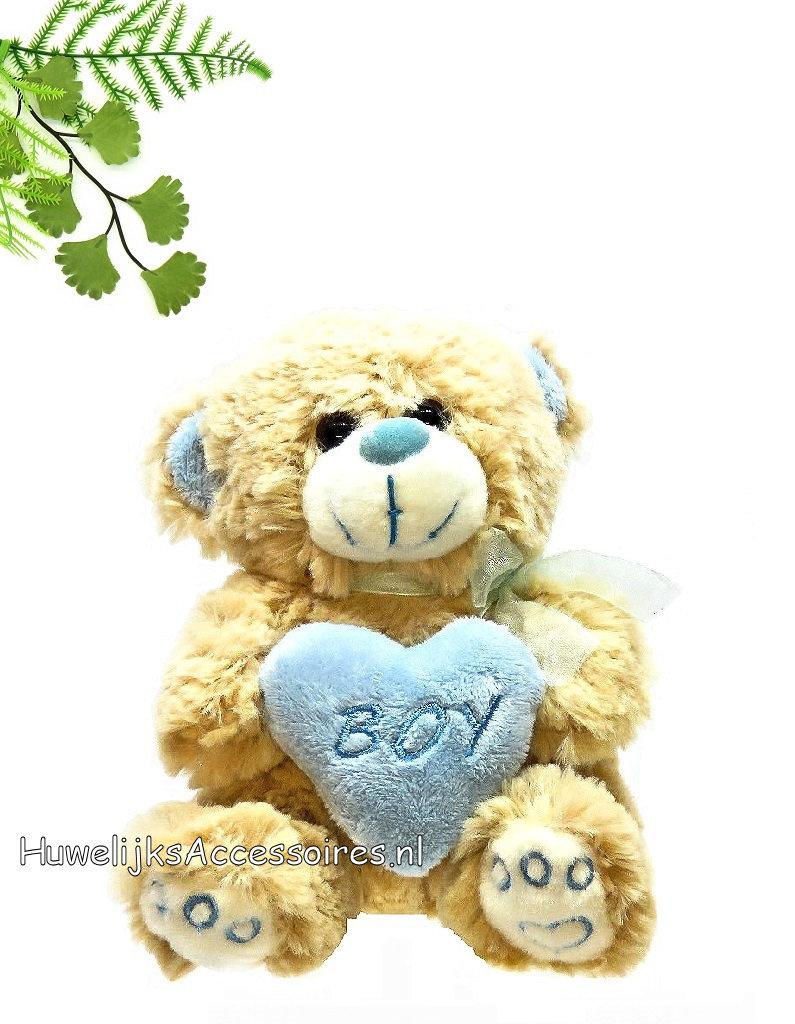 Hele leuke knuffel beertje met een blauwe hartje