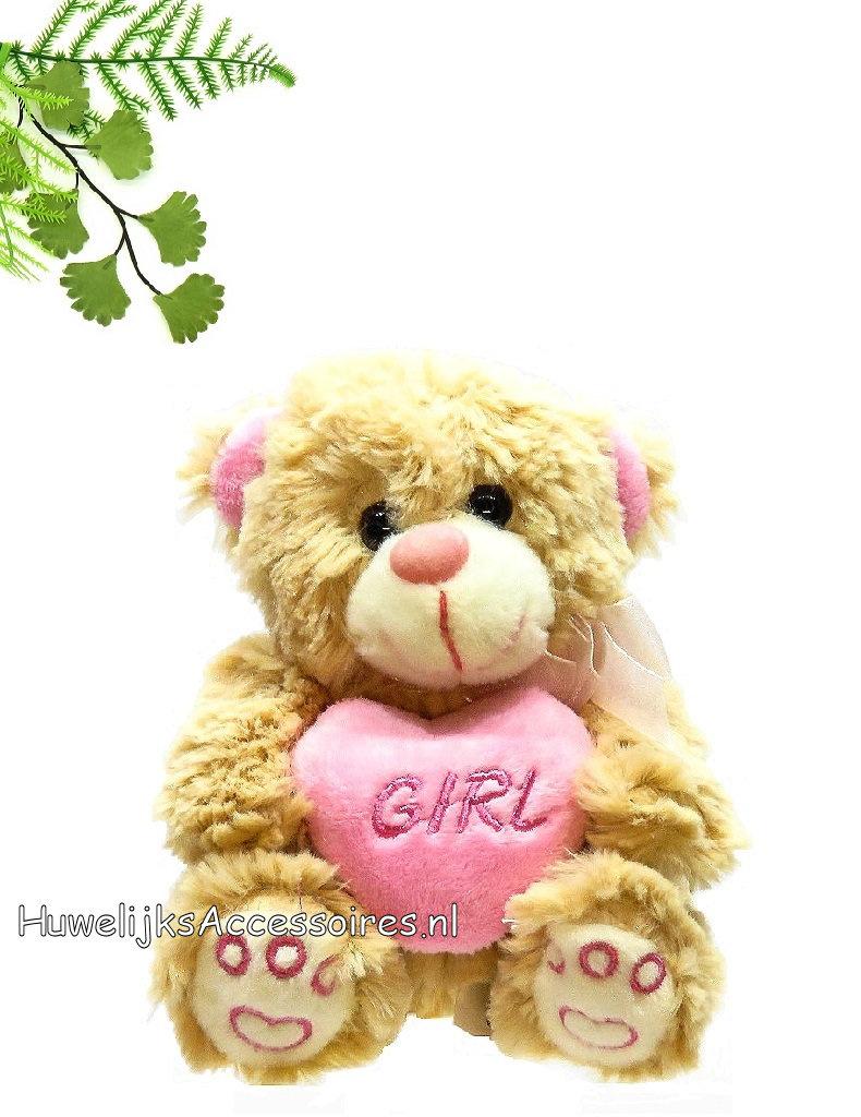 Een heel mooie knuffel beertje met roze accenten