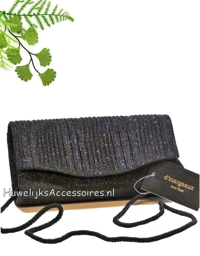 Sprankelende elegante zwarte uitgangtasje met ribben stof