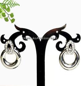 Strass en zilver clip oorbellen