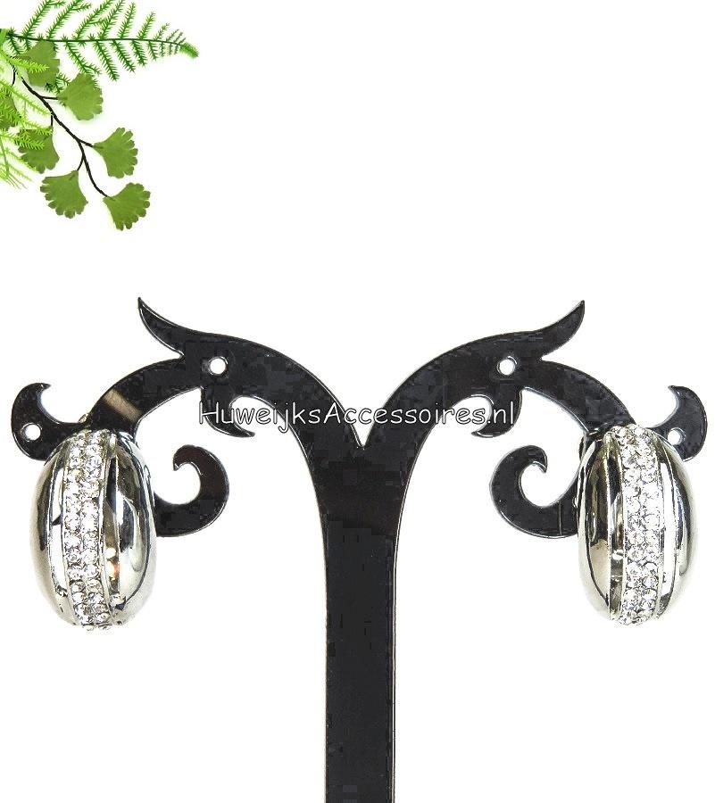 Zilver met strass steentjes clip oorbellen