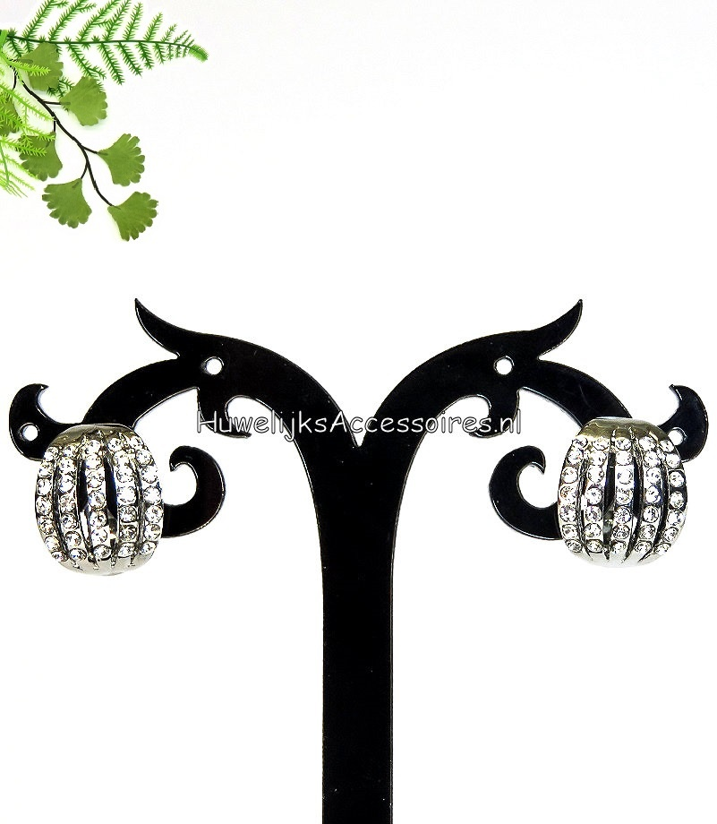 Prachtige zilveren strass clip oorbellen