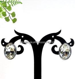 Zilver en strass clip oorbellen