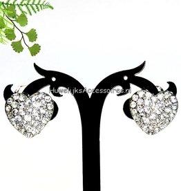 Zilver hart strass clip oorbellen