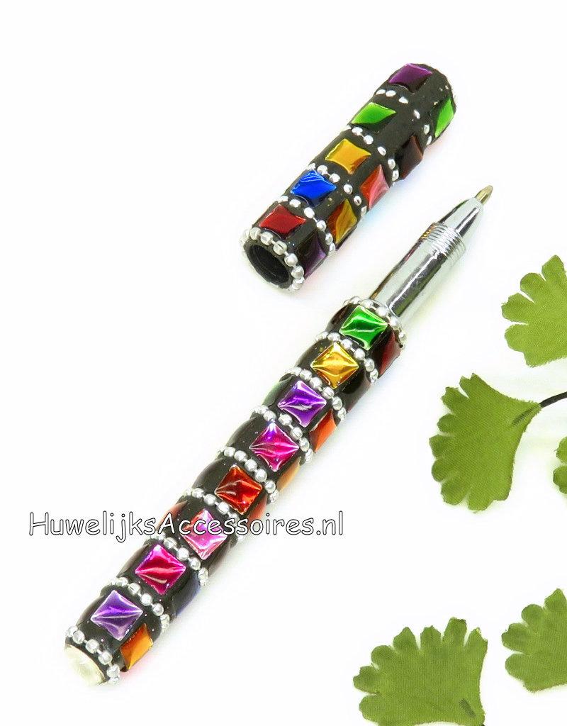 Huwelijk pen met gekleurde steentjes