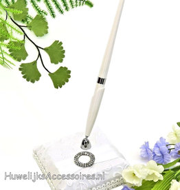 Gasten pen met houder en strass steen cirkel